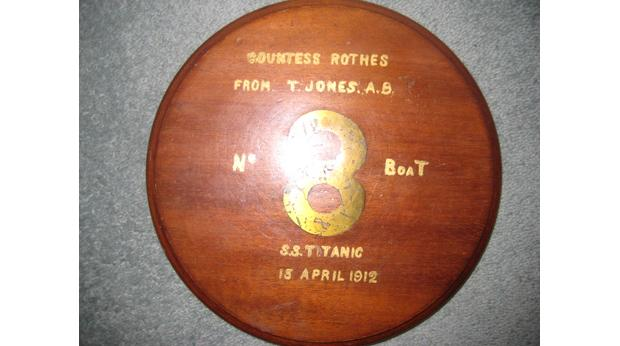 Titanic lifeboat plaque, no 8, from bow