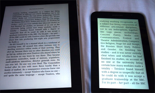 Text of a book on the Apple iPad and Samsung Galaxy Tab