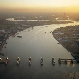 Aerial view of Thames Barrier, River Thames.