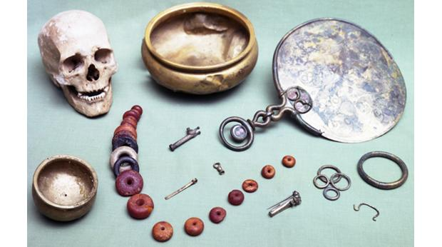 A group of iron-age treasures buried around AD 50 along with their owner.