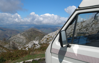 Campervan looking out over mountains