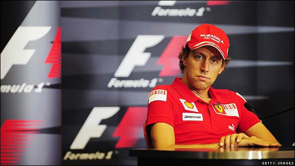 Luca Badoer chats to the media in Valencia