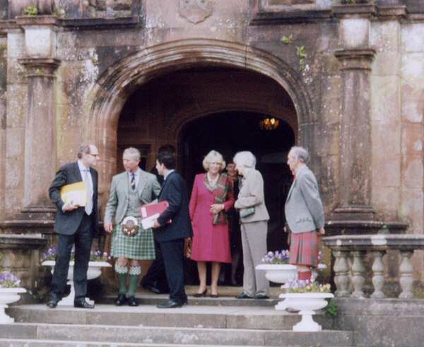 The Duke and Duchess with officials at the Castle Main Entrance.