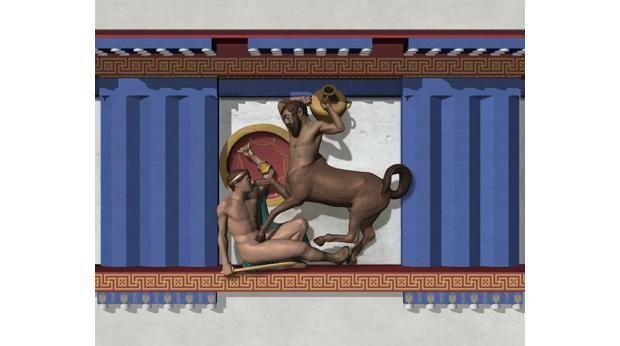 A graphic image showing how a different metope might have looked when painted. © Trustees of the British Museum