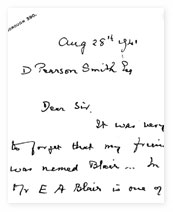 Letter from Arthur Keith to D Pearson-Smith Esq.