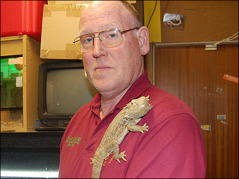 Brian Davies with bearded dragon