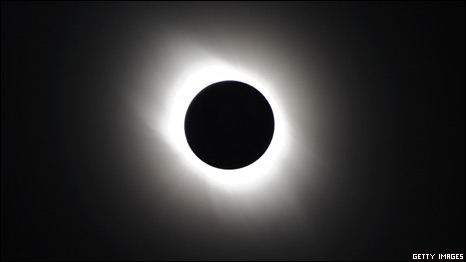The solar eclipse is seen on July 22, 2009 near Iwojima Island, Tokyo, Japan