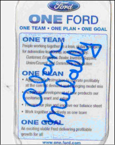 Alan Mulally's 'One  Ford' sticker