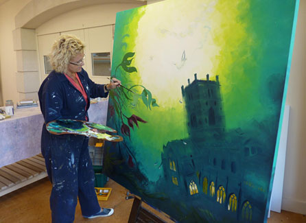 Rhian Field painting All Rise for the Judge, depicting St David's Cathedral submerged underwater