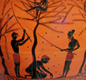 Harvesting olives. This picture from a large jar or amphora (about 520 BC) shows people with sticks knocking olives from trees.