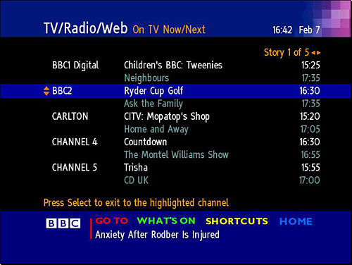 BBC Text's TV/radio listings page in 2000