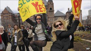 Canadian protesters taking part in a 'SlutWalk'
