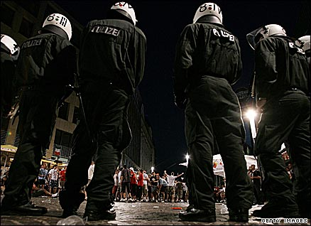 Police keen an eye on England fans during the 2006 World Cup in Germany