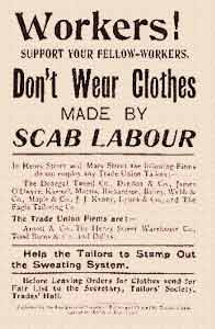 Image of trade union handbill opposed to un-unionised labour