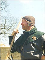 'Blacke Dickon' - the author's medieval forester character - relates the legend of King Richard The Lionheart's meeting with Robin Hood at a recent event in Nottingham Castle. (English Heritage)