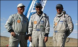 Picture: Kieron, Brian and Peter in the Gobi desert