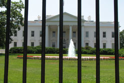 The White House behind security bars