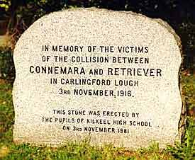 Commemorative headstone to the Carlingford Lough Disaster