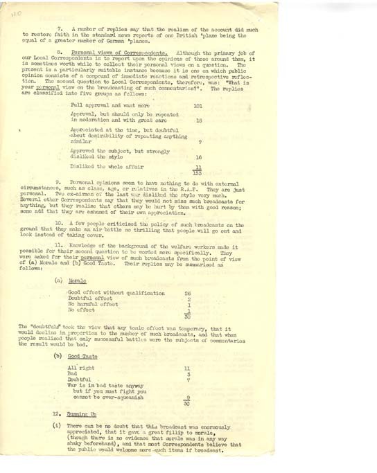 Page two of Listener Research Report on Charles Gardner News broadcast.