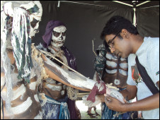 Creating a zombie on the set of the Bishaash drama