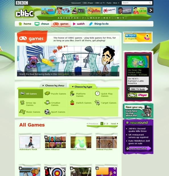 New CBBC games home page
