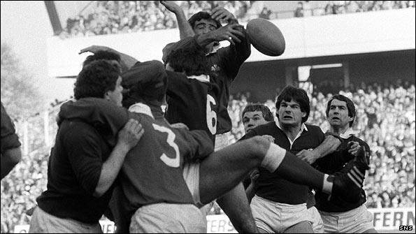 John Beattie (2nd right) shows his willingness to get involved at the lineout against Wales at Murrayfield in 1983.