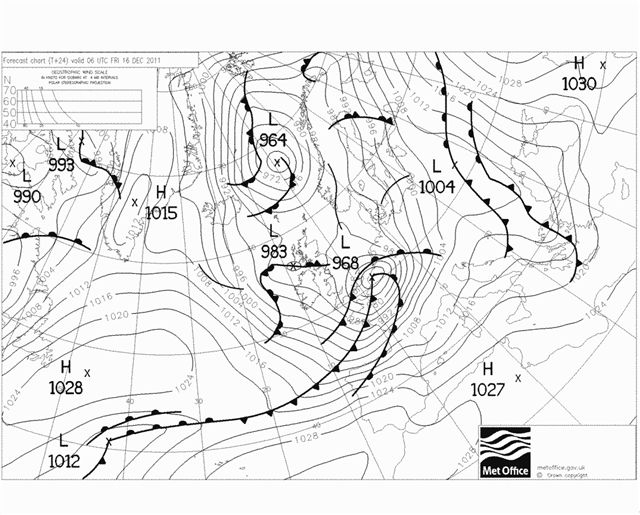 Forecast chart for 6am on Friday, 16 December, 2011.