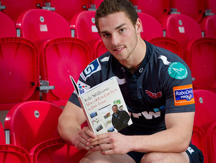 George North reading at Parc y Scarlets. Photo: Patrick Olner/Welsh Books Council