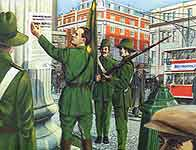 An artist's impression of Pearse reading the proclamation