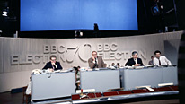 L-R: Alan Watson, Cliff Michelmore and David Butler in the Election results programme BBC Election 70, BBC One 18/19 June 1970