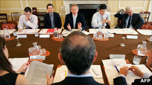 Tony Blair and David Miliband at meeting in the cabinet room