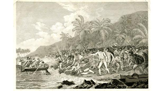 Print showing the death of Captain Cook. Copyright Trustees of the British Museum