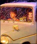 Picture: Ron and Harry back in the Ford Anglia