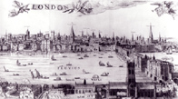 line drawing of the river front of London, 1616