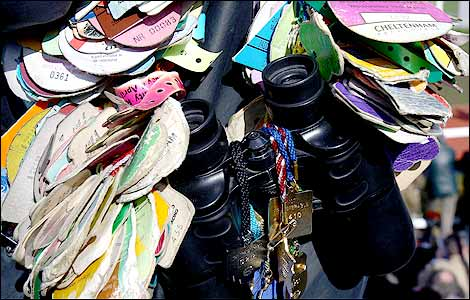 Badges surround a pair binoculars during day two of the Cheltenham Festival 2009 (Getty image)