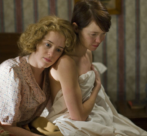 Claire Foy (Helen) and Anna Maxwell Martin (Kay) in The Night Watch. Photo: BBC/John Rogers