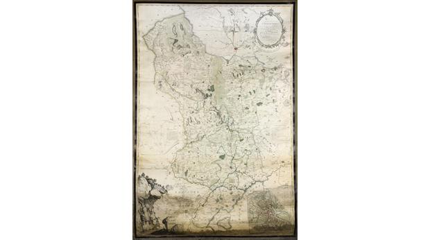 Burdett's map of Derbyshire 1767 (2nd Ed 1791) one inch to one mile scale, with a street map of Derby