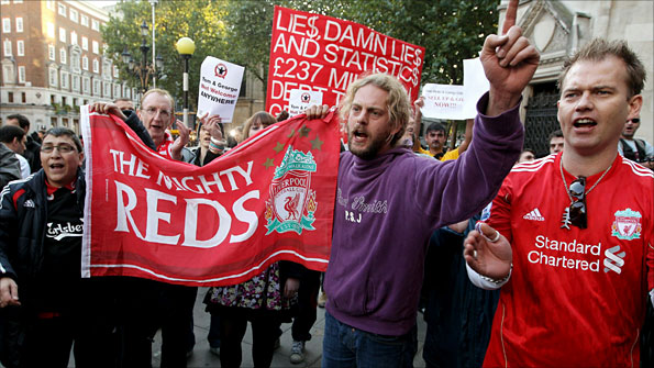 Liverpool fans protest outside the High Court