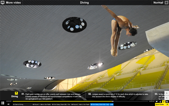 Information about diving, above a dramatic still of an Olympian