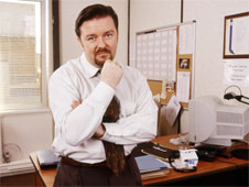 Image from sitcom 'The Office'. Manager David Brent in his office.