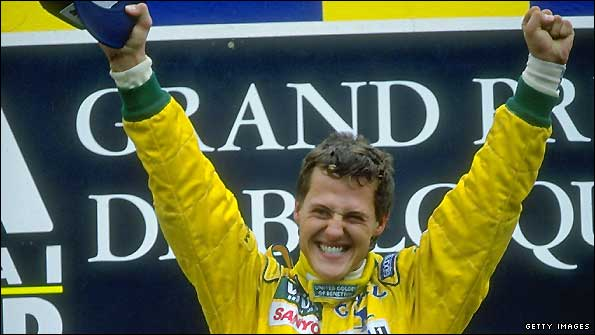 Michael Schumacher wins the 1992 Belgian Grand Prix for Benetton