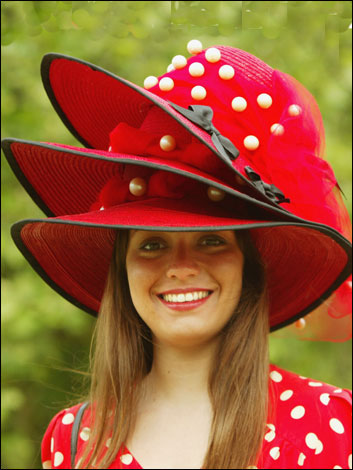 Hats off to Royal Ascot. Why have just one hat when you can wear three at  once  Red and white f675853497f5