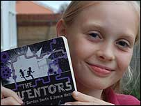 Lydia with her copy of The Inventors.