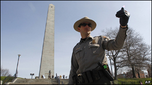 A park ranger at the Bunker Hill monument in Boston, Massachussetts