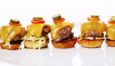 Kobe cheeseburgers with aged Cheddar