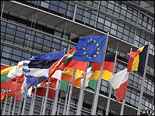EU countries' flags in Strasbourg