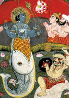 Vishnu emerging from the mouth of a fish in a pond full of lotus flowers. Onlookers are worshipping him while a demon looks defiant and disgruntled