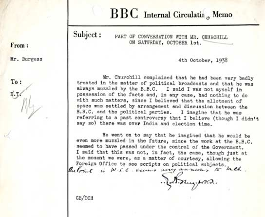 A memo from Burgess about Winston Churchill.