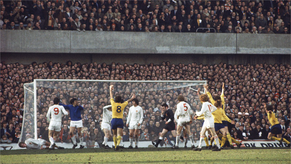 Arsenal celebrate after being awarded their last-gasp penalty in the 1971 FA Cup semi-final