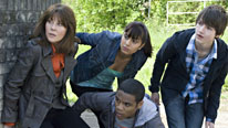 (L-R) Elisabeth Sladen as Sarah, Anjli Mohindra as Rani, Daniel Anthony as Clyde and Tommy Knight as Luke